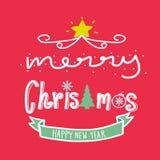 La Feliz Navidad y la Feliz Año Nuevo redactan el ejemplo Imagen de archivo libre de regalías