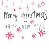 La Feliz Navidad y la Feliz Año Nuevo redactan el ejemplo Fotos de archivo libres de regalías