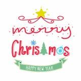 La Feliz Navidad y la Feliz Año Nuevo redactan el ejemplo Fotografía de archivo