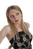 La femelle assez jeune dans le rétro type 60s vêtx Photo libre de droits