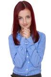 La femelle attirante prient, demandent quelque chose, d'isolement Image stock