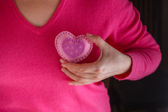 La femelle dans le rose donnent le coeur mou Photo libre de droits