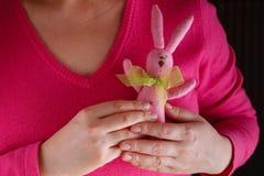 La femelle dans le rose donnent le jouet mou Images stock
