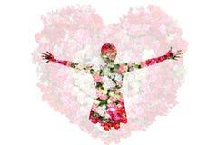 La femelle et les roses fleurissent dans la double exposition d'isolement sur le fond de roses Image stock