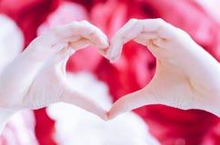 La femelle font le coeur de mains le Saint Valentin Image stock