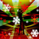 La femelle silhouette la danse dans une disco Photographie stock