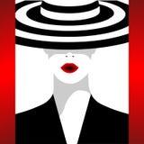 La femme à la mode dans un chapeau illustration de vecteur