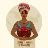 La femme africaine est un agriculteur de café Photo libre de droits