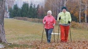 La femme agée deux heureuse en parc d'automne ont le nordic marchant parmi le parc de froid d'automne Photographie stock