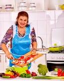 La femme agée prépare la nourriture dans la cuisine Photographie stock libre de droits