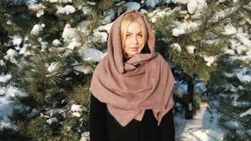 La femme agréable regarde mistrustfully in camera, paysage d'hiver clips vidéos