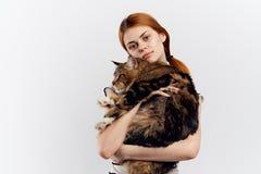 La femme aime des animaux familiers étreignant un chat sur un fond clair Photographie stock libre de droits