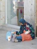 La femme appauvrie et malade à Madrid Photos stock