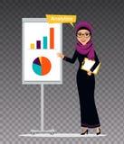 La femme arabe avec le presse-papiers tient presque le flipchart La femme est engagée dans l'analytics Illustration sur le fond t Photo stock