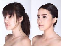 La femme asiatique avant après composent la coiffure aucun retouchez, Images libres de droits