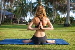 La femme attirante pratique le yoga en nature Photo stock