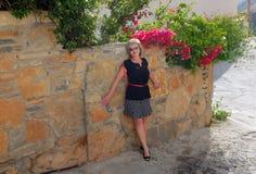 La femme au mur Photo libre de droits