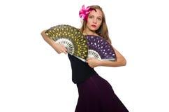 La femme avec des danses de danse de fan d'isolement sur le blanc Photos stock