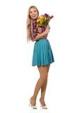 La femme avec des fleurs d'isolement sur le blanc Photos libres de droits