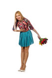La femme avec des fleurs d'isolement sur le blanc Photo libre de droits
