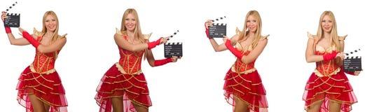 La femme avec la claquette de film d'isolement sur le blanc Photographie stock
