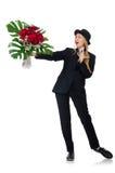 La femme avec le groupe de roses d'isolement sur le blanc Images stock