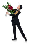 La femme avec le groupe de roses d'isolement sur le blanc Image libre de droits