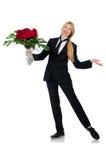 La femme avec le groupe de roses d'isolement sur le blanc Photo stock