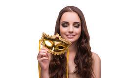 La femme avec le masque de carnaval d'isolement sur le blanc Image libre de droits