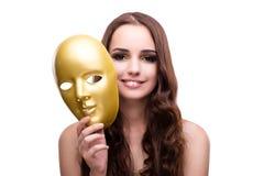 La femme avec le masque de carnaval d'isolement sur le blanc Photo libre de droits