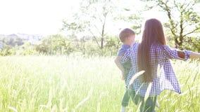 La femme avec son fils face à va sur la nature de champ banque de vidéos