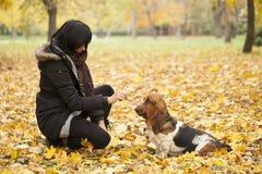 La femme avec un chien en parc Image libre de droits