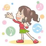 La femme chantent une chanson - karaoke illustration libre de droits