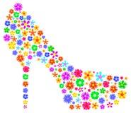 La femme chausse le résumé avec des fleurs de ressort Photos libres de droits