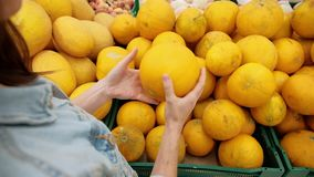 La femme choisit le fruit dans le supermarché Une jeune fille achète la nourriture pour un régime de vegan Nourriture saine, légu banque de vidéos