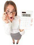 La femme comptable d'affaires a choqué Photographie stock libre de droits
