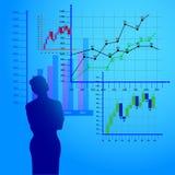 La femme considère les diagrammes économiques, graphiques de gestion illustration stock