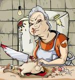 La femme découpent un poulet Photo libre de droits