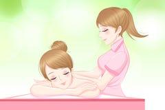 La femme détendent le massage illustration stock