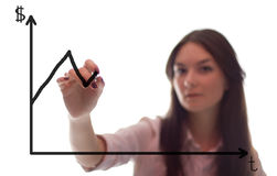 La femme d'affaires écrit le grath sur la glace Photographie stock libre de droits