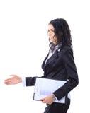 La femme d'affaires étendent la main Photographie stock libre de droits