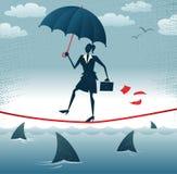 La femme d'affaires abstraite marche Tightrope avec Confid illustration stock