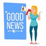 La femme d'affaires annoncent le vecteur de concept Conception criarde de bannière d'annonce Homme avec le mégaphone Ouverture gr illustration stock