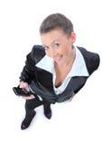 La femme d'affaires appelle avec un téléphone portable Photo libre de droits