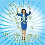 La femme d'affaires attrape des dollars Photo stock
