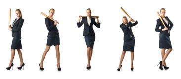 La femme d'affaires avec la batte de baseball sur le blanc Images stock