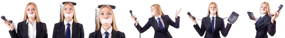 La femme d'affaires avec le téléphone Photos libres de droits