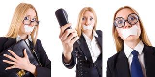 La femme d'affaires avec le téléphone dans le concept de censure Photos stock
