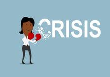 La femme d'affaires bat et casse la crise avec des gants illustration libre de droits