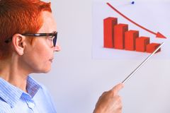 La femme d'affaires conduit la formation d'affaires Gens d'affaires ayant sur la pr?sentation au bureau Homme d'affaires présent  image libre de droits
